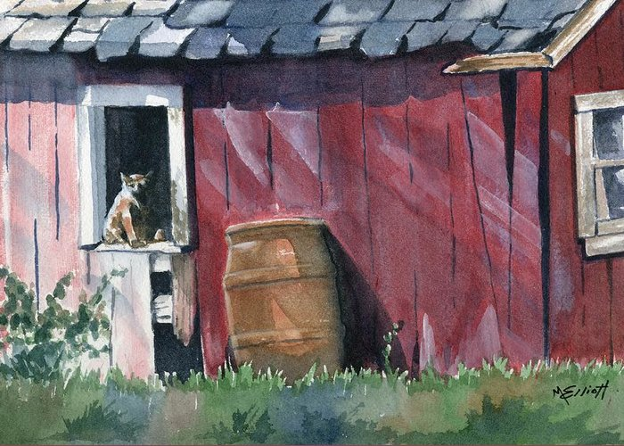 Cat Greeting Card featuring the painting Catching Some Rays by Marsha Elliott