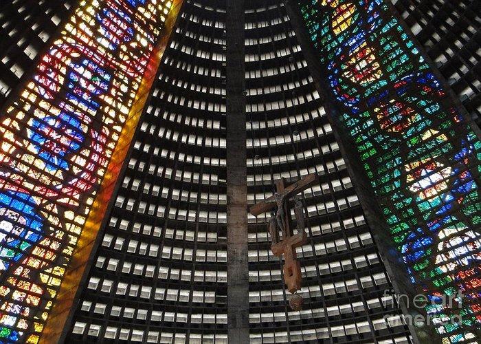 Cathedral Greeting Card featuring the photograph Catedral Metropolitana Do Rio De Janeiro by Barbie Corbett-Newmin