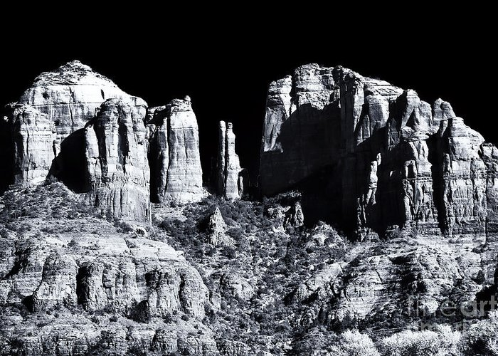 Cathedral Rock Shadows Greeting Card featuring the photograph Cathedral Rock Shadows by John Rizzuto