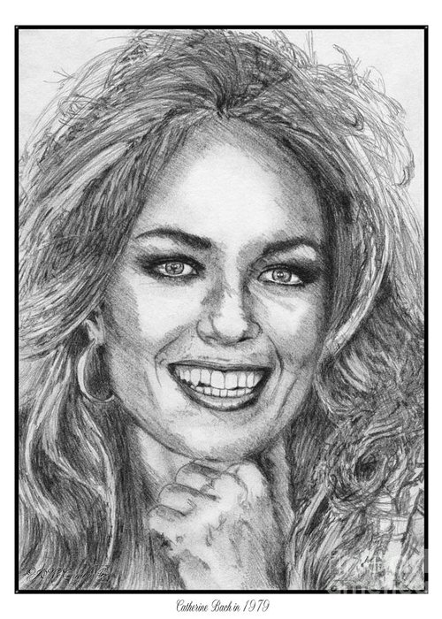 Mccombie Greeting Card featuring the drawing Catherine Bach In 1979 by J McCombie