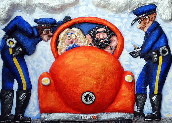 Police Greeting Card featuring the painting Caught by Alison Galvan
