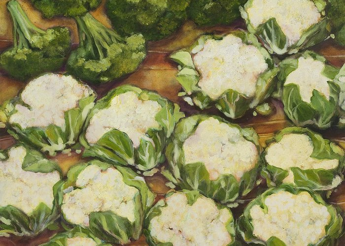 Cauliflower Greeting Card featuring the painting Cauliflower March by Jen Norton