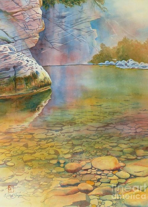 Watercolor Greeting Card featuring the painting Cave Springs by Robert Hooper