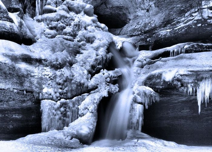 Frozen Waterfall At Cedar Falls In Hocking Hills State Park Greeting Card featuring the photograph Cedar Falls In Winter by Dan Sproul