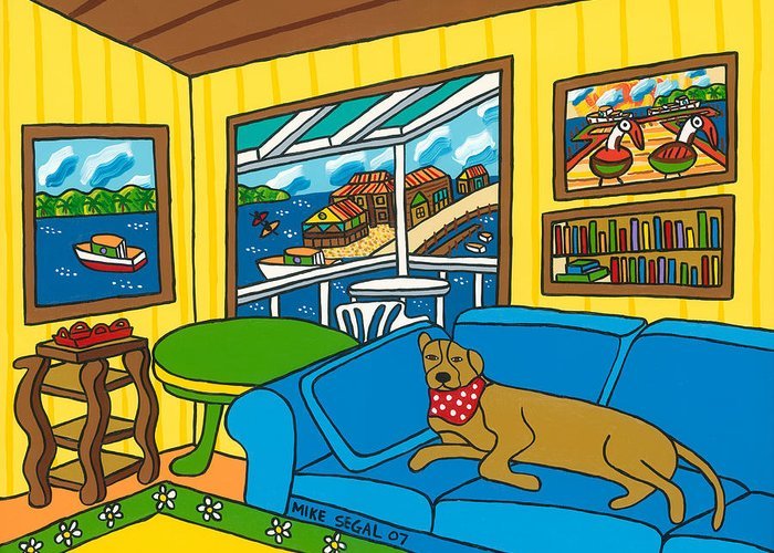 Dog Greeting Card featuring the painting Cedar Key Snoozer by Mike Segal