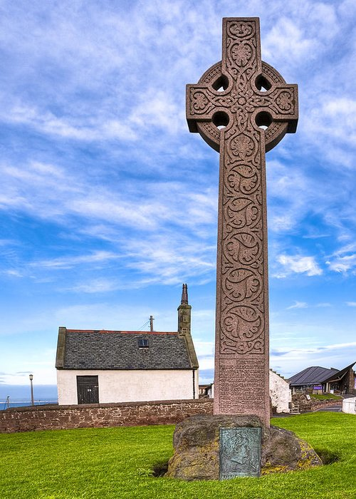 Celtic Cross Greeting Card featuring the photograph Celtic Cross On The Scottish Coast At North Berwick by Mark E Tisdale