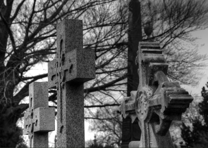 Cemetery Greeting Card featuring the photograph Cemetery Crosses by Jennifer Lyon