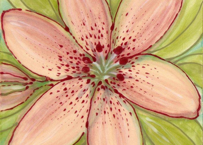 Flower Greeting Card featuring the painting Ceramic Flower 2 by Anna Skaradzinska