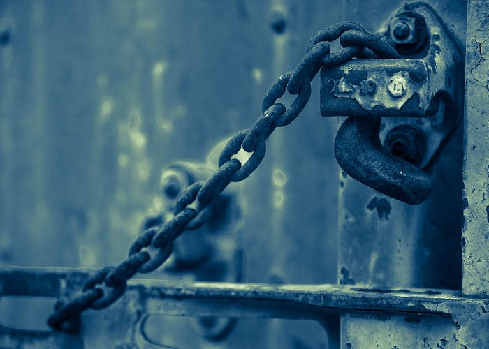Train Greeting Card featuring the photograph Chained And Moody by Toni Hopper