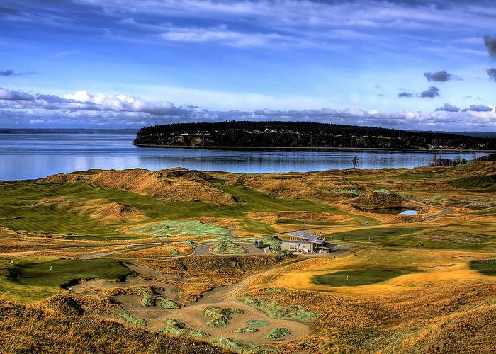 Chambers Bay Golf Course Greeting Card featuring the photograph Chambers Bay Golf Course by David Patterson
