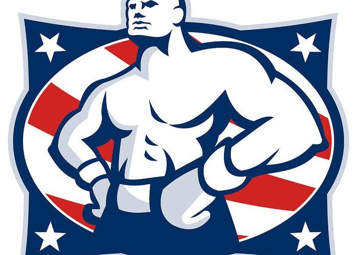 Boxer Greeting Card featuring the digital art Champion American Boxer Akimbo Retro by Aloysius Patrimonio