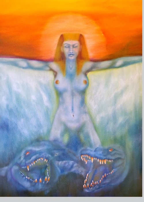 Major Arcana Greeting Card featuring the painting Chariot by Roger Williamson