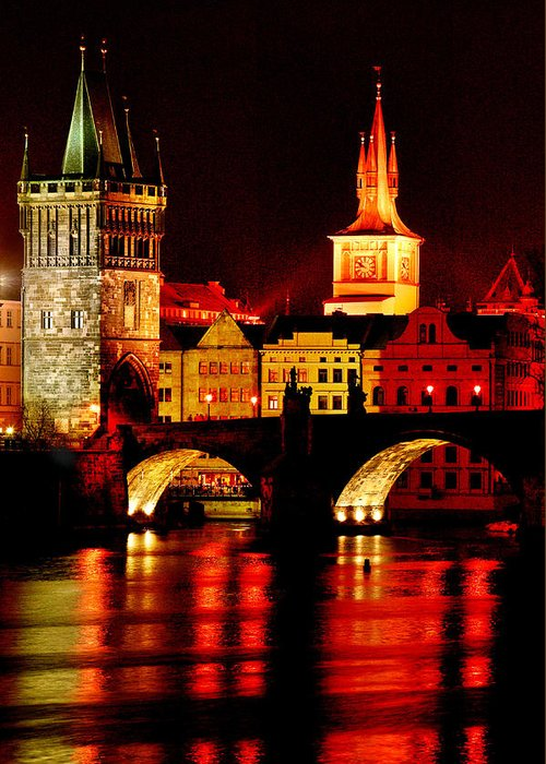 Charles Bridge Greeting Card featuring the photograph Charles Bridge by John Galbo