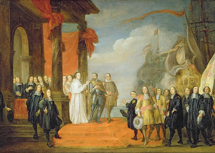 Habsburg Greeting Card featuring the painting Charles V Leaving The Town Of Dort by David the Elder Teniers