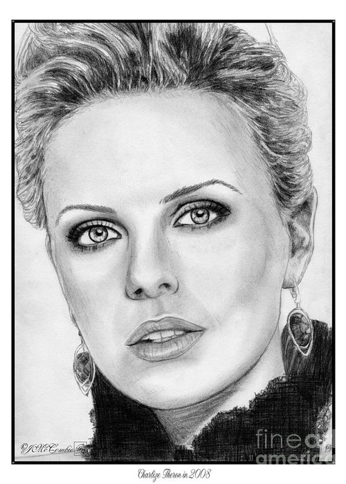 Charlize Theron Greeting Card featuring the drawing Charlize Theron In 2008 by J McCombie