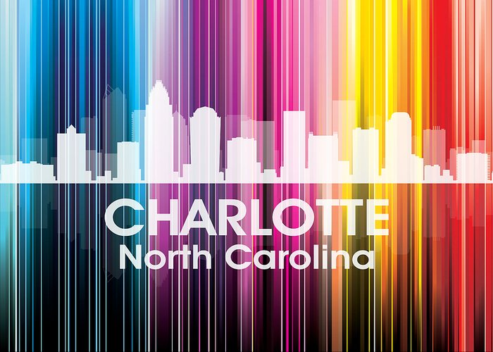City Silhouette Greeting Card featuring the mixed media Charlotte Nc 2 by Angelina Vick