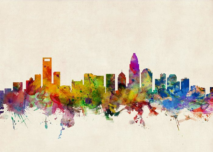 Watercolour Greeting Card featuring the digital art Charlotte North Carolina Skyline by Michael Tompsett