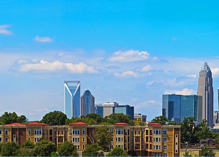 Charlotte Greeting Card featuring the photograph Charlotte Panorama Iv by Gene Berkenbile