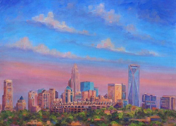 Charlotte Greeting Card featuring the painting Charlotte Skies by Jeff Pittman