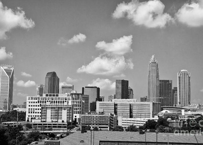 Skyline Greeting Card featuring the photograph Charlotte Skyline In Black And White by Jill Lang