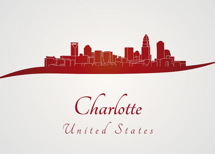 Charlotte Skyline Greeting Card featuring the digital art Charlotte Skyline In Red by Pablo Romero