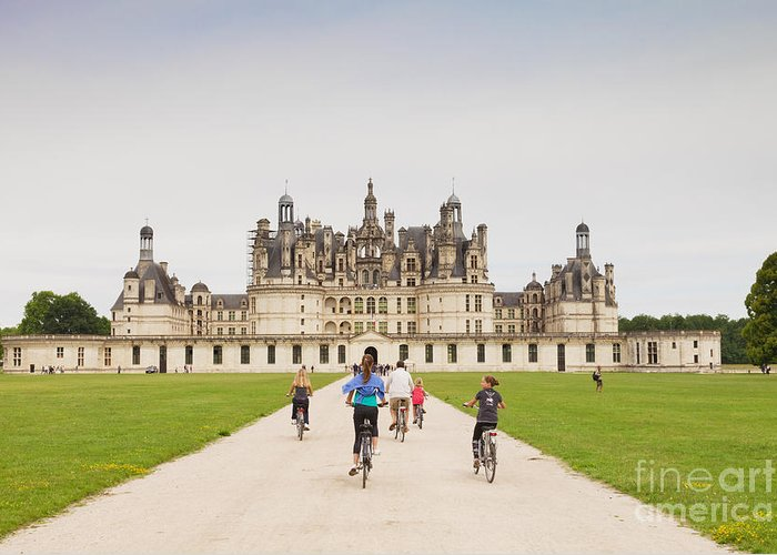 Centre Greeting Card featuring the photograph Chateau Chambord And Cyclists by Colin and Linda McKie