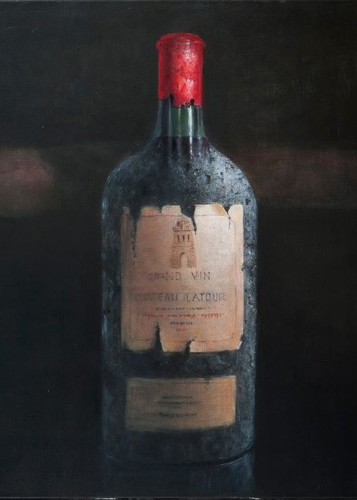 Chateau Latour; Wine; Red Wine; Wine Bottle; Bottle; Grand Vin; Collectible Wine; Celebrate; Celebration; Wine Greeting Card featuring the painting Chateau Latour by Lincoln Seligman