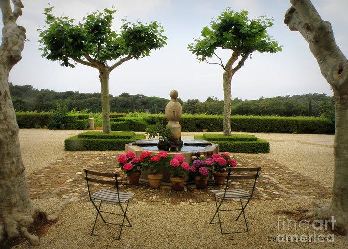 France Greeting Card featuring the photograph Chateau Malherbe Fountain by Lainie Wrightson