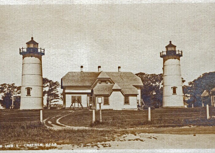 Chatham Greeting Card featuring the photograph Chatham Twin Lights 1908-18 by Skip Willits
