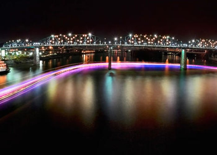 Lights Greeting Card featuring the photograph Chattanooga Holiday Boat Parade by Steven Llorca