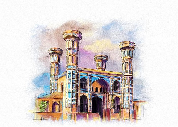 Pakistan Greeting Card featuring the painting Chauburji Lahore by Catf
