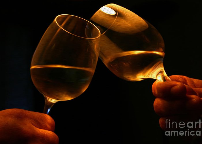 Alcohol Greeting Card featuring the digital art Cheers by Patricia Hofmeester