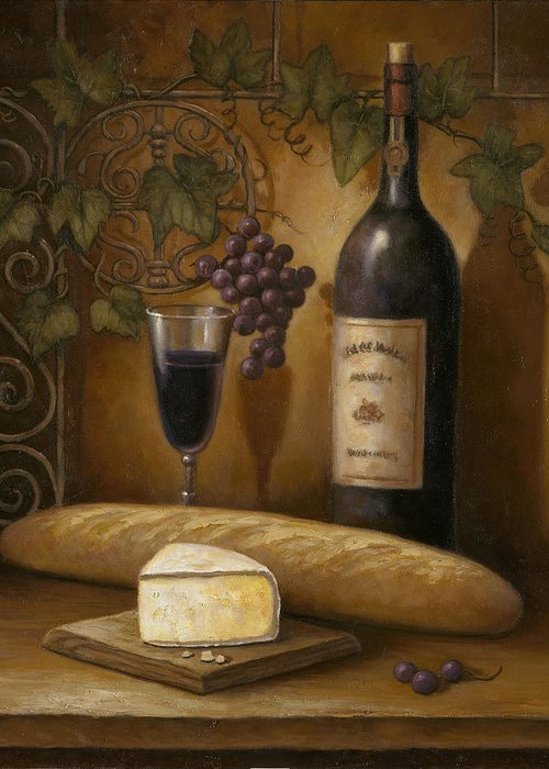 Chef Greeting Card featuring the painting Cheese And Wine by John Zaccheo