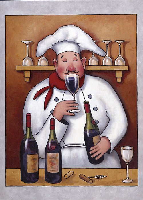 Chef Greeting Card featuring the painting Chef 1 by John Zaccheo