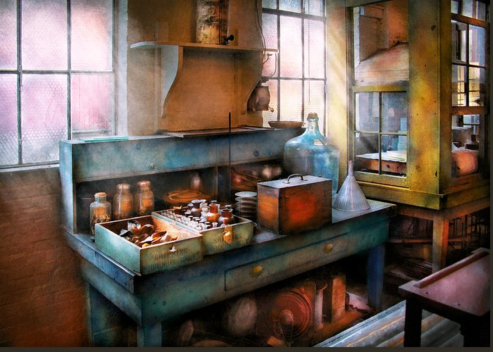 Savad Greeting Card featuring the photograph Chemist - Making Glue by Mike Savad