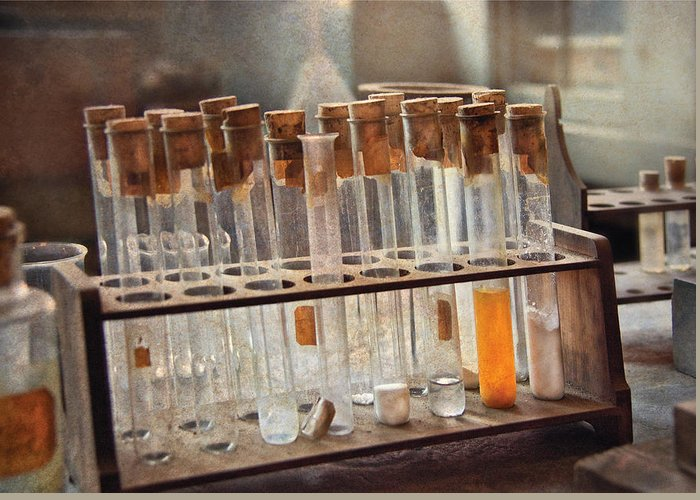 Vials Greeting Card featuring the photograph Chemist - Specimen by Mike Savad