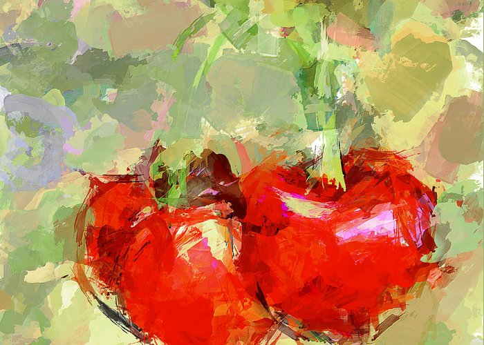 Still Life Greeting Card featuring the digital art Cherries Abstract by Yury Malkov