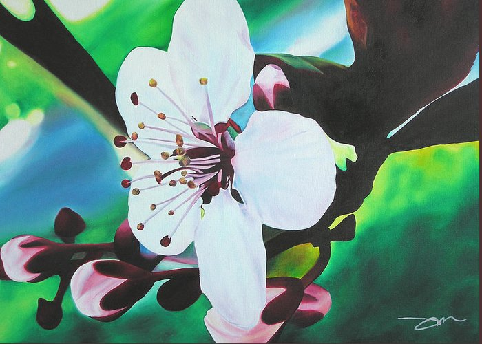 Flower Greeting Card featuring the painting Cherry Blosom by Joshua Morton