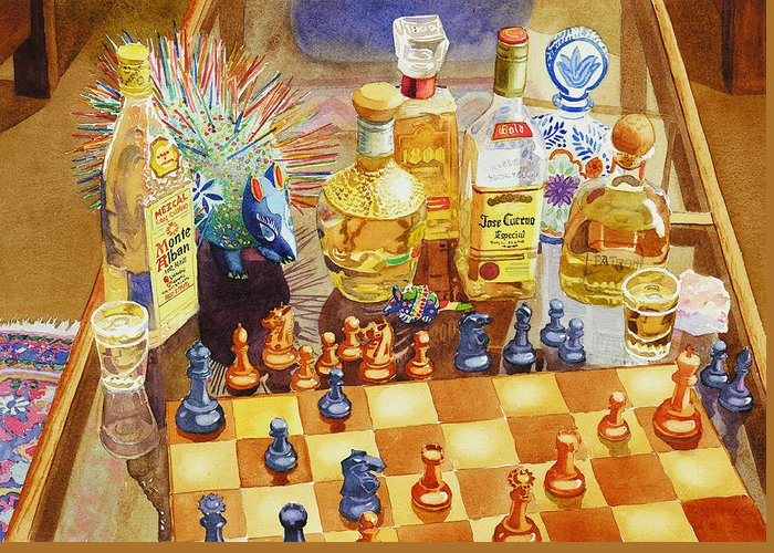 Tequila Greeting Card featuring the painting Chess And Tequila by Mary Helmreich