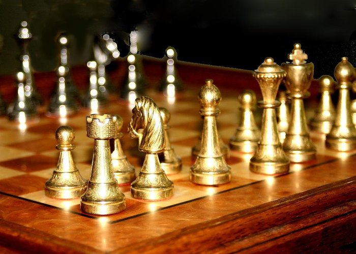 Chess Greeting Card featuring the photograph Chess Set by Diane Merkle