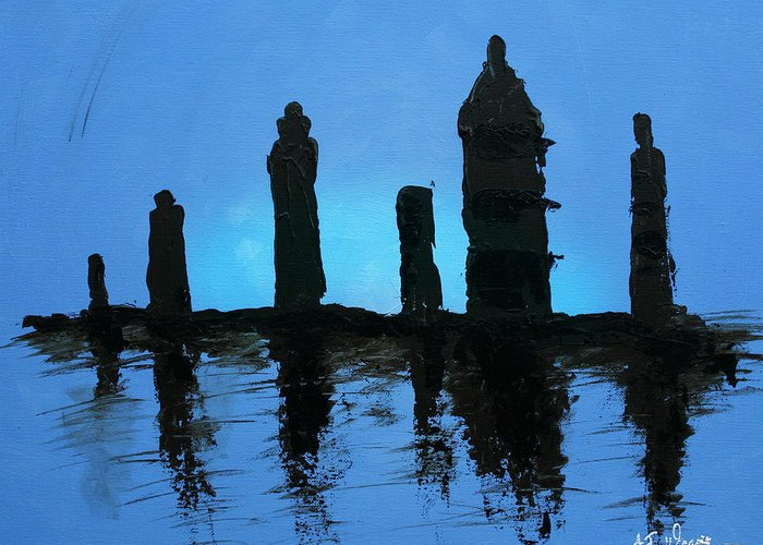 Dusk Greeting Card featuring the painting Chessmen At Dusk by AJ Warren