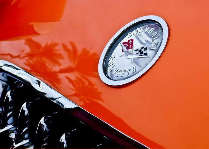 Chevrolet Corvette Greeting Card featuring the photograph Chevrolet Corvette Hood Emblem by Jill Reger