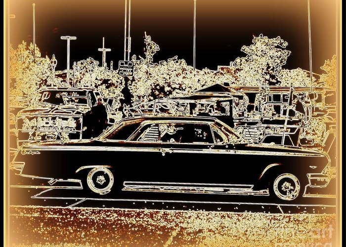 Prints On Canvas Greeting Card featuring the photograph Chevy Glow by Bobbee Rickard