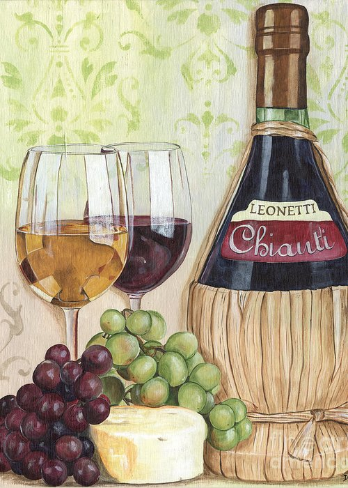 Wine Greeting Card featuring the painting Chianti And Friends by Debbie DeWitt