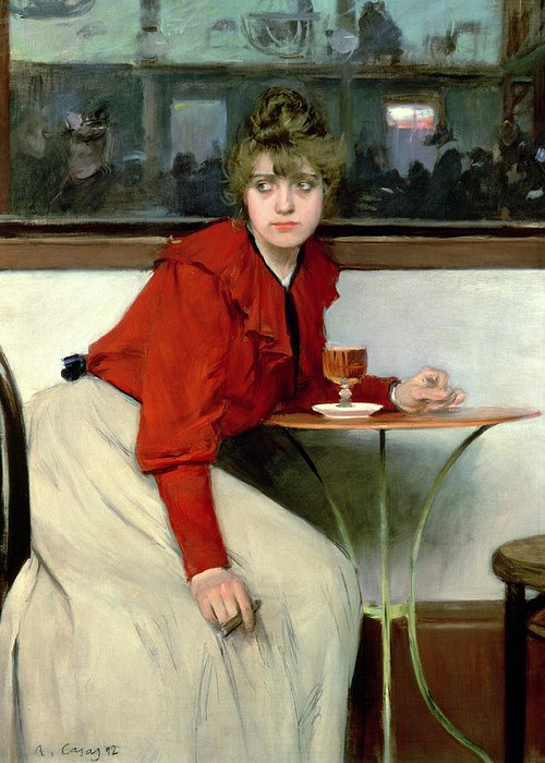 Glass; Drink; Mirror; Woman; Cigar; Waiting; Portrait; Female; Seated; Smoking; Red; White; Chignon Greeting Card featuring the painting Chica In A Bar by Ramon Casas i Carbo