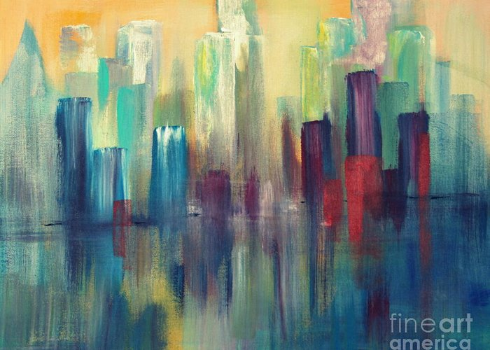 Sailboats And Abstract 2 Greeting Card featuring the painting Chicago A Reflection by Julie Lueders