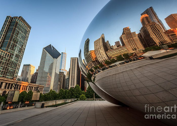 America Greeting Card featuring the photograph Chicago Bean Cloud Gate Sculpture Reflection by Paul Velgos