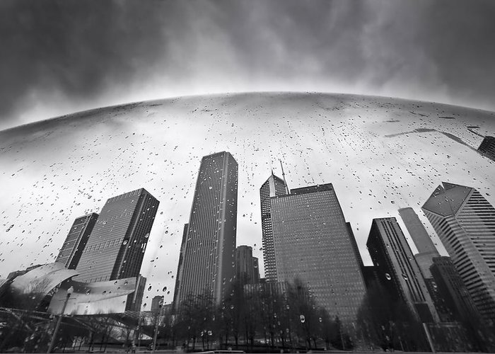 Chicago Greeting Card featuring the photograph Chicago Black And White Photography by Dapixara Art