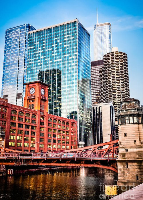 America Greeting Card featuring the photograph Chicago Downtown At Lasalle Street Bridge by Paul Velgos
