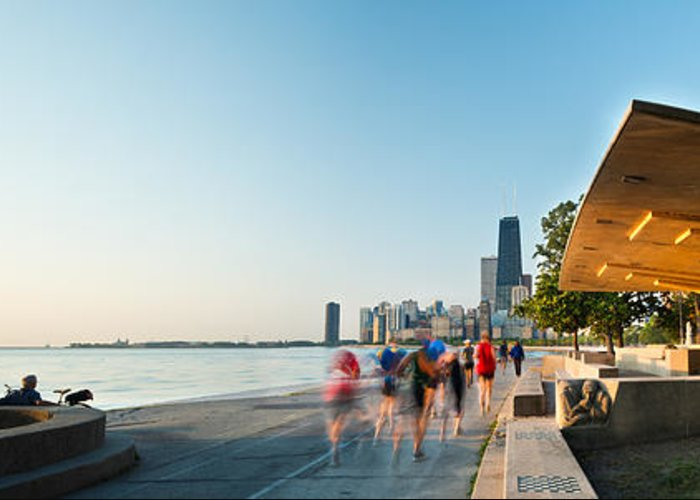 Chicago Greeting Card featuring the photograph Chicago Lakefront Panorama by Steve Gadomski